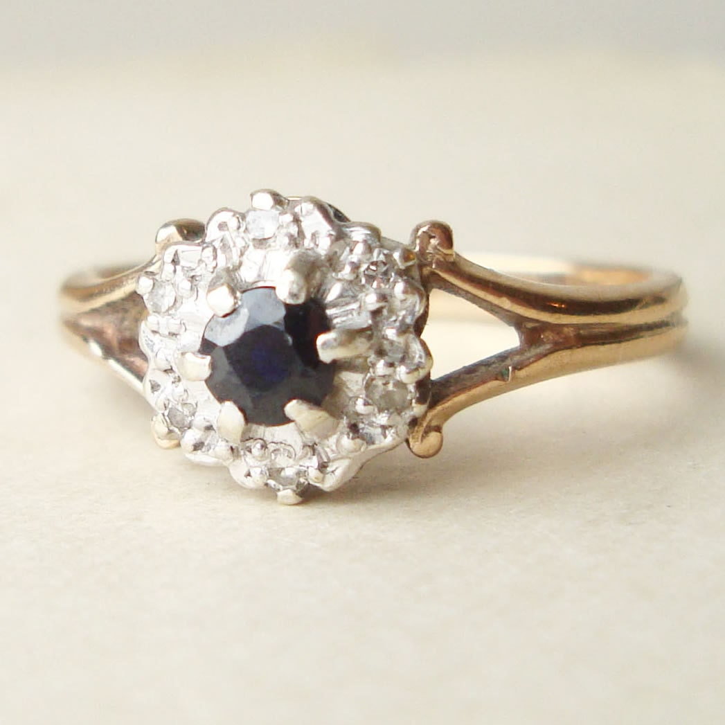 vintage sapphire engagement ring diamond ring 9k gold ring