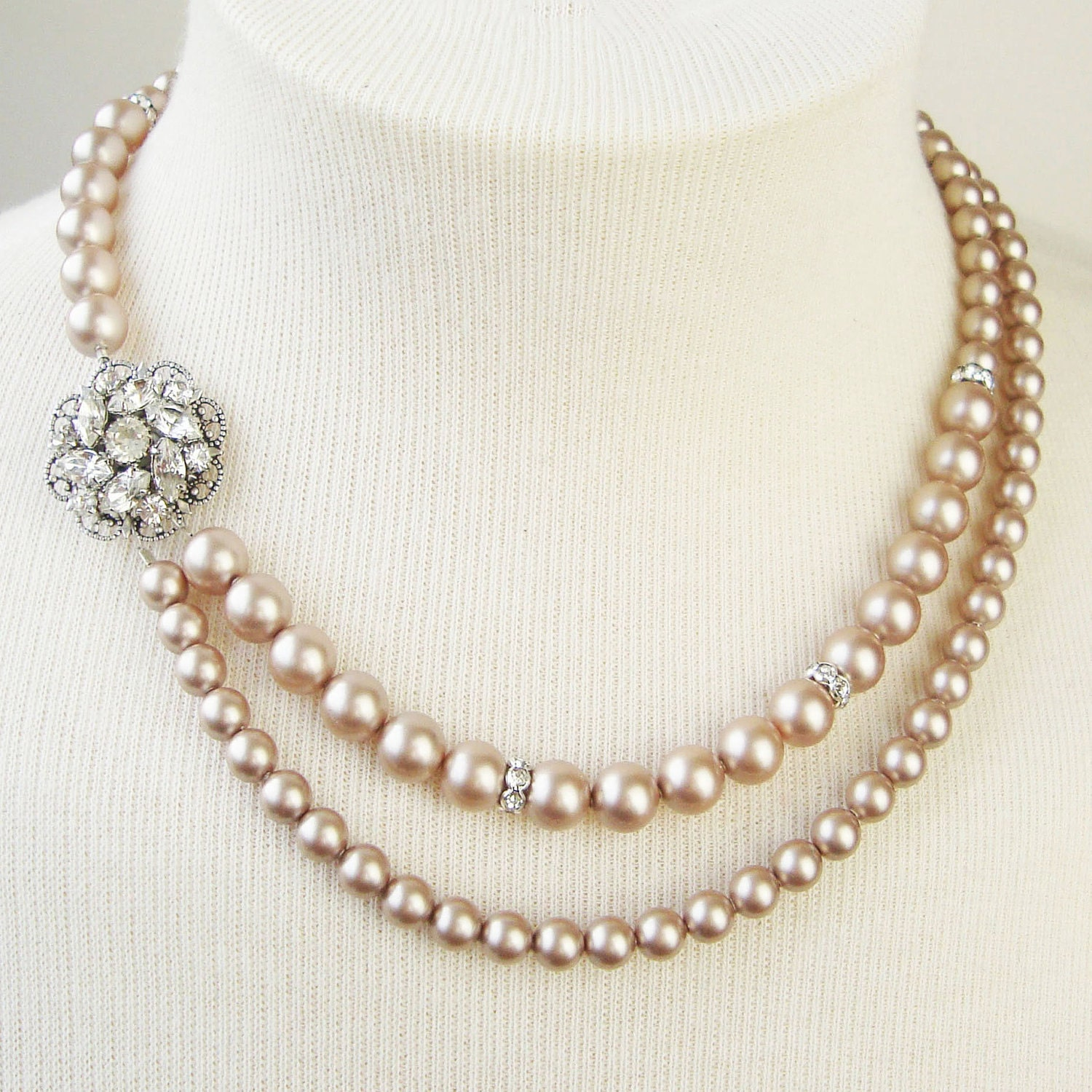 Champagne pearl bridal necklace champagne wedding necklace for Jewelry for champagne wedding dress