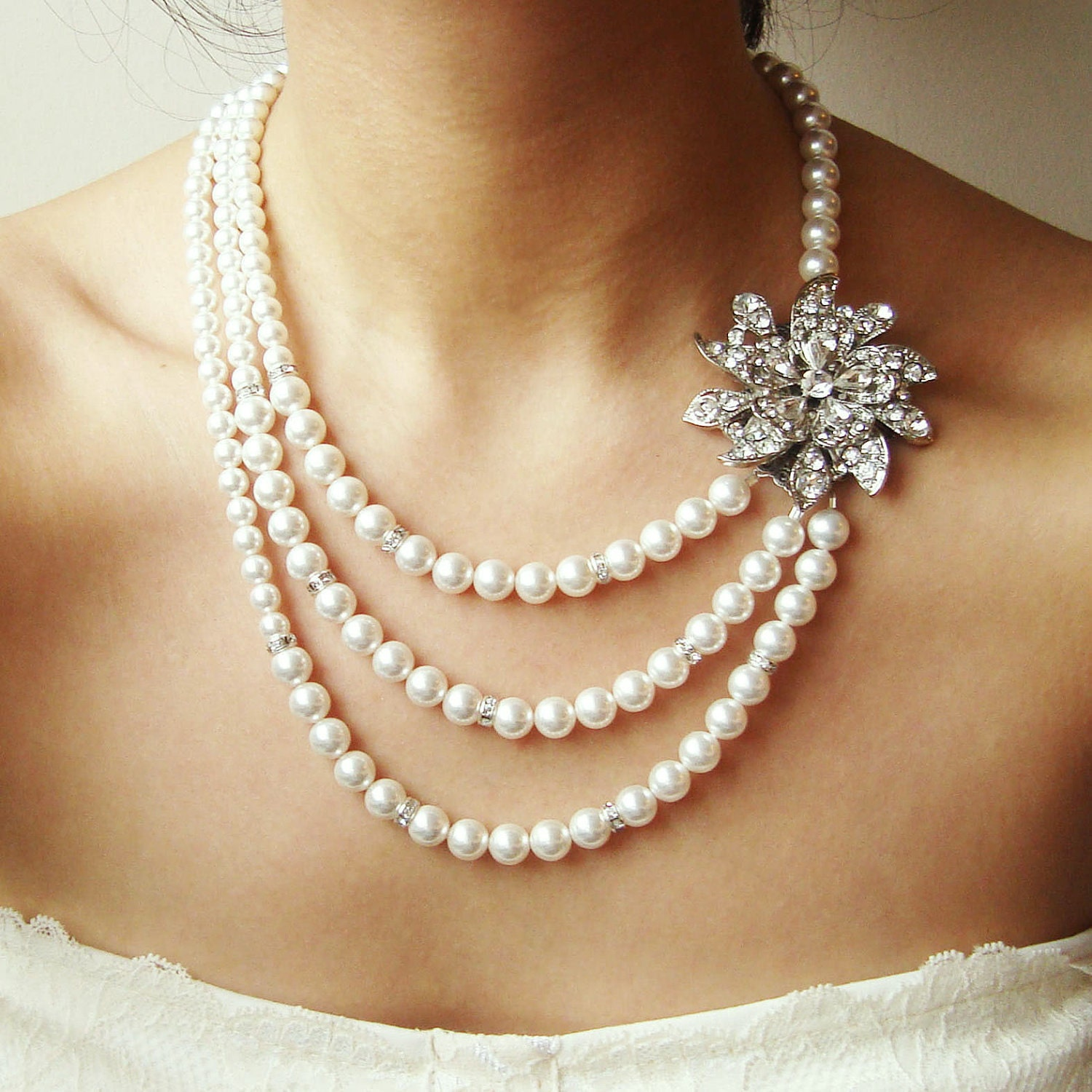 Bridal Fashion Jewelry For Cheap Bridal Pearl Necklace Vintage
