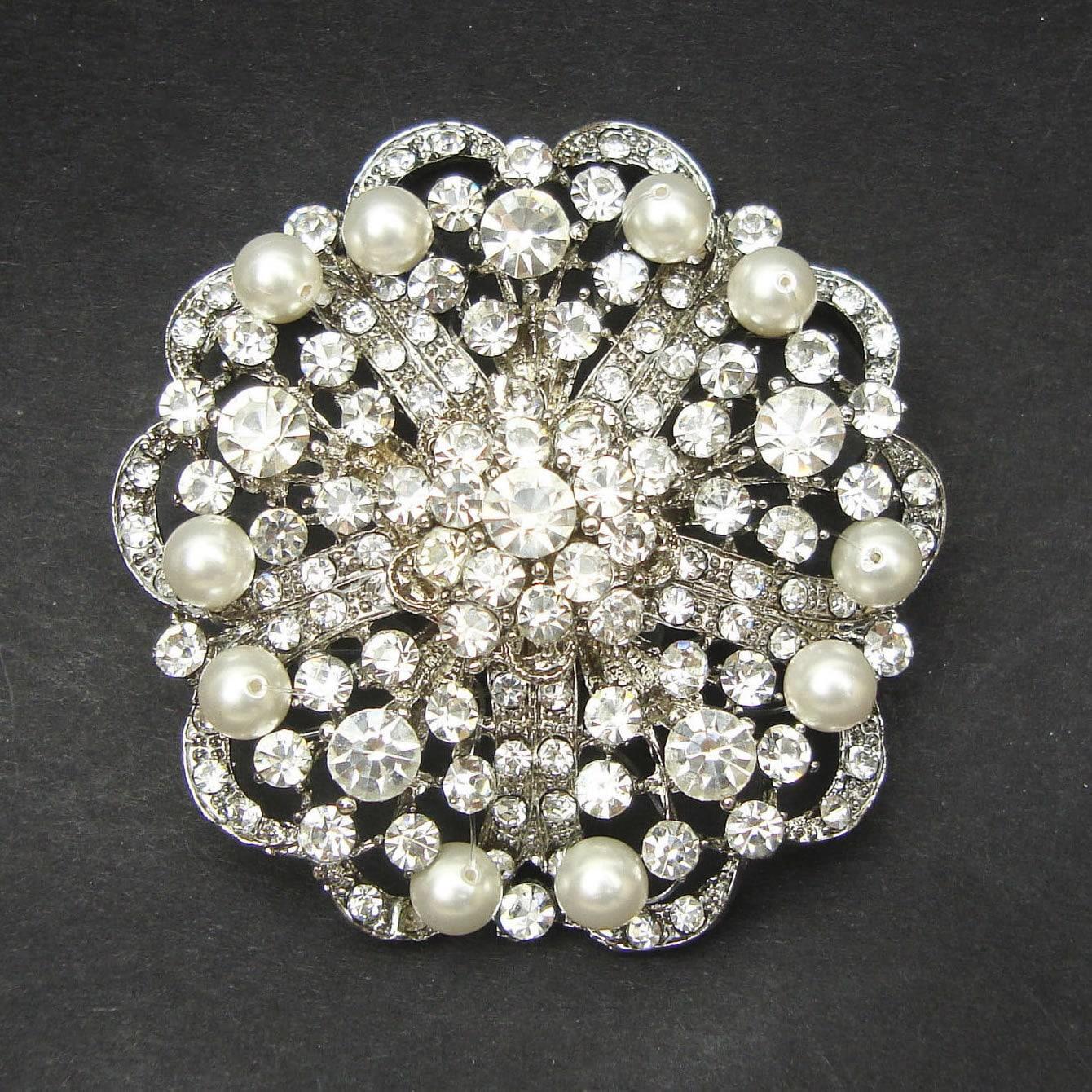 Vintage Pearl & Crystal Bridal Brooch Victorian Wedding