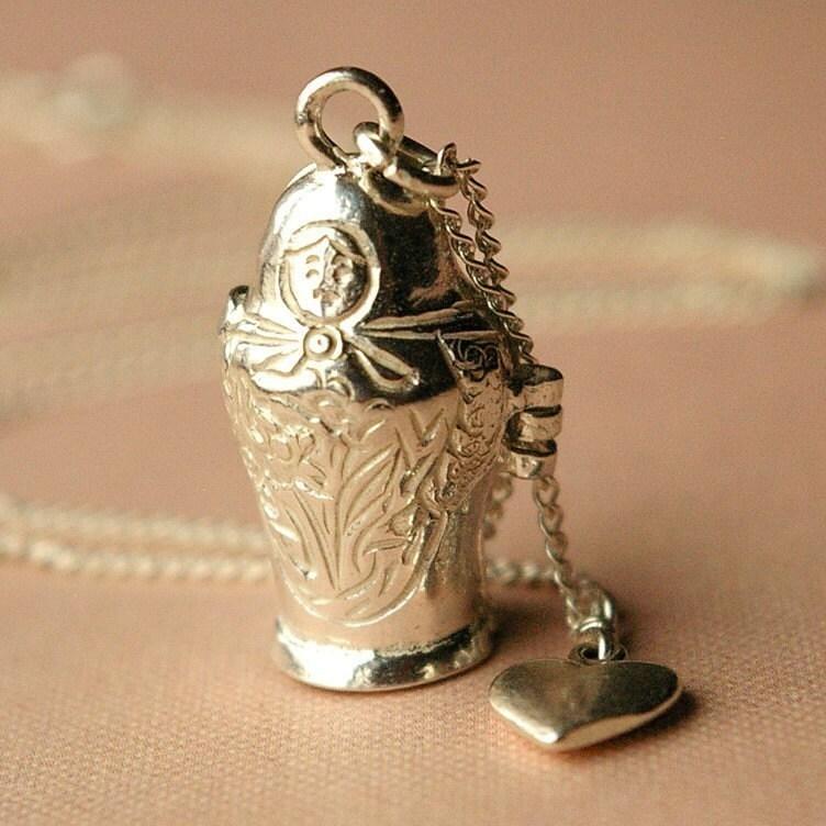 Matryoshka Doll Sterling Silver Charm Necklace