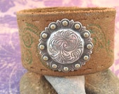 Distressed Brown Leather Wrist Belt with Concho- Upcycled - Colorful - Medium