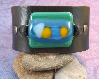 Black Leather Wrist Cuff with Fused Glass Focal - Medium - Upcycled