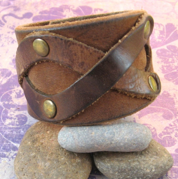 Brown Leather Wrist Cuff - Tooled - Upcycled - Medium