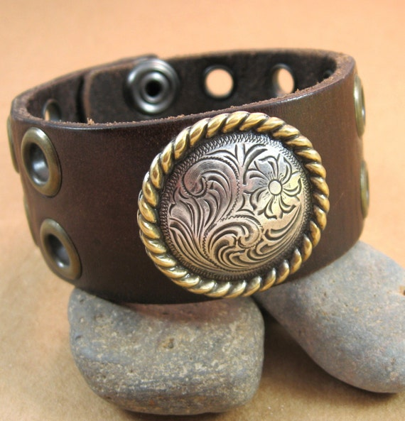 Brown Leather Wrist Belt with Eyelets and Medallion - Upcycled - Large