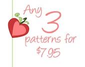 Crochet PDF Pattern SET of 3 - Choose any 3 Patterns from my shop