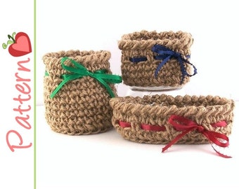 Twine Mini Baskets Crochet Patterns pdf, Round, Square and Oval, 3 Patterns Included