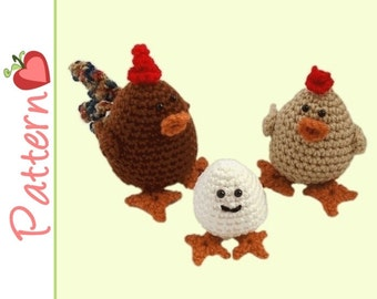 Chicken Family Amigurumi Crochet Patterns pdf, Rooster, Hen and Baby EggB