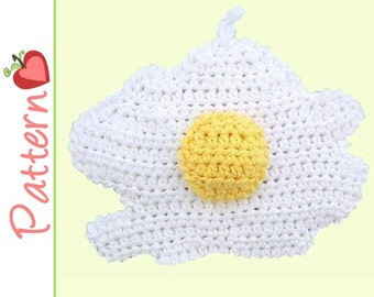 Fried Egg Potholder Crochet Pattern pdf, A Cute and Whimsical Project Sunny Side Up