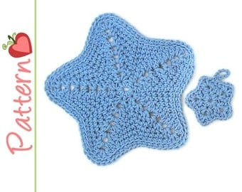 Star Wash Cloth and Face Scrubbie Crochet Pattern pdf, also incl Symbol Charts, Cloth Makes a Great Gift Jar Topper