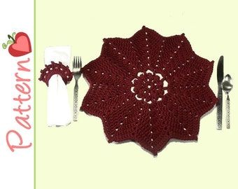 Placemat, Napkin Ring Crochet Pattern pdf, Pretty Petaled, Perfect for Everyday or Holidays