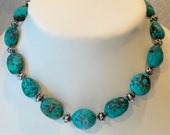 Blue turquoise necklace. Large chunky beads. Sterling silver.