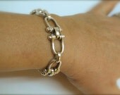 Vintage Gucci style equestrian bracelet.  Heavy, Sterling silver. Snaffle, Horsebit.