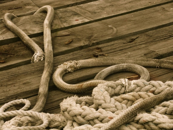 Nautical ropes on a dock in Gloucester, MA. Photo card