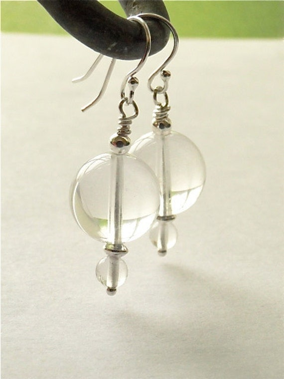 Rock crystal earrings. Pools of Light inspired. Art Deco, Silver.