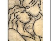 Abstract painting Modern pop Art print Contemporary love kiss decor by Fidostudio