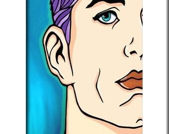 Broken Mirror - Original Abstract painting Modern pop Art print Contemporary colorful comics portrait face decor by Fidostudio