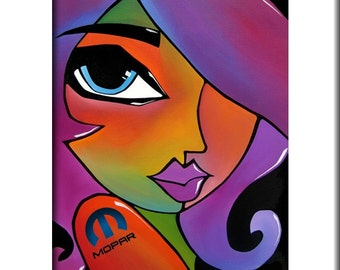 Abstract painting Modern pop Art print Contemporary colorful portrait face automotive garage mopar decor by Fidostudio