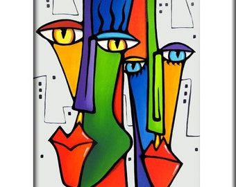 Lovin The City - Original Abstract painting Modern pop Art print Contemporary colorful portrait face decor by Fidostudio