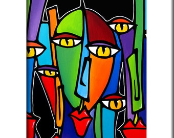 Winning - Original Abstract painting Modern pop Art print Contemporary colorful cubist portrait face decor by Fidostudio