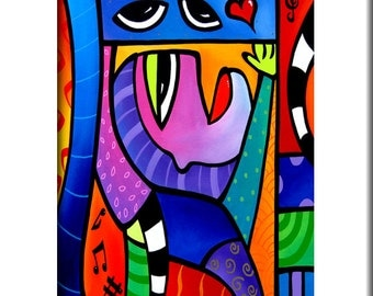 Love Song - Original Abstract painting Modern pop Art print Contemporary colorful cubist portrait face decor by Fidostudio