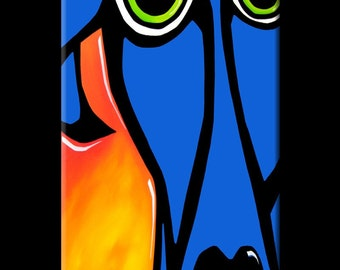 Abstract painting Modern pop Art Contemporary Portrait blue dog by Fidostudio - Always