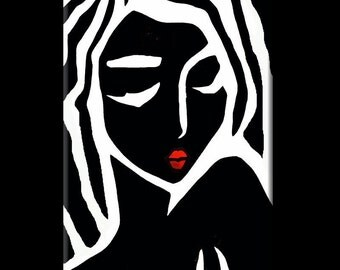 Abstract painting Modern pop Art Contemporary large black and white Portrait FACE by Fidostudio