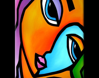 Abstract painting Modern pop Art Contemporary large colorful Portrait FACE by Fidostudio