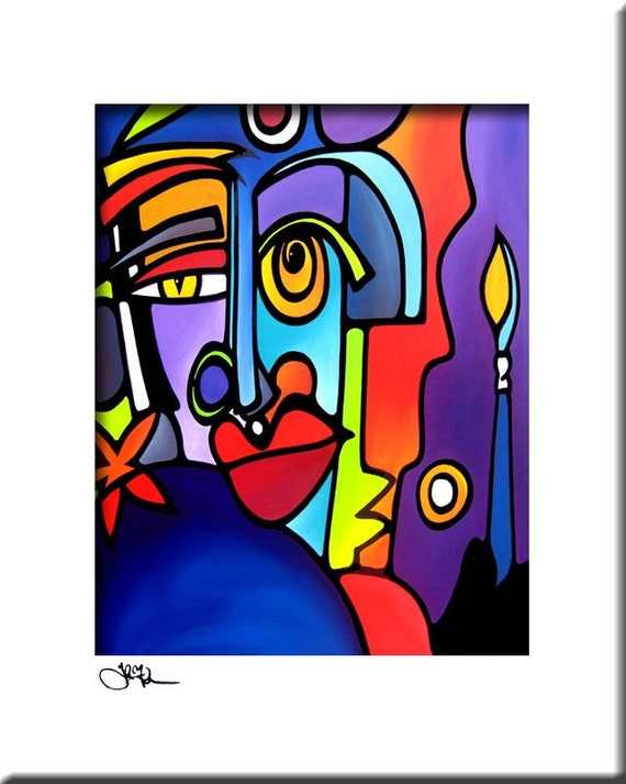 Abstract painting Modern pop Art print Contemporary colorful cubist portrait face decor by Fidostudio - The Master