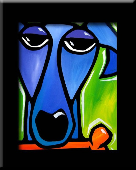 Satisfaction - Original Abstract painting Modern pop Art print Contemporary colorful portrait blue dog face decor by Fidostudio