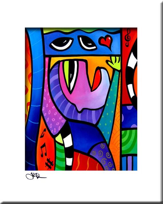 Fabuleux Chanson d'amour Original peinture abstraite moderne pop UO91