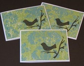 Tweet Handstamped Note Cards - Blue and Green - New Lower Price
