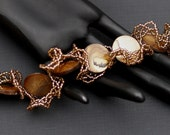 Bronze Beauty ... Handmade Bracelet . Frilly . Netting . Oglala . Feminine . Ruffly . Ruffled . Mother of Pearl . Caramel . Seed Beads