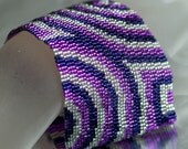 Concentric ... Peyote Bracelet . Beadwoven Cuff . Wide . Passionate Purple . Violet . Metallic . Silver . Hypnotic . Geometric . Circles