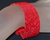 Simply Red ... Peyote Bracelet . Beadwoven Cuff . Handmade Jewelry . Crimson . Cranberry . Monochromatic . Favorite Color . Bright . Rouge