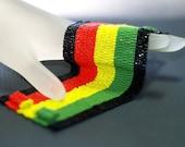 Rasta Stripes ... Super Wide Peyote Cuff . Bracelet . Rastafarian Colors . Black . Crimson Red . Sunny Yellow . Kelly Green . Bold . Vibrant
