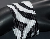 Zebra ... Bracelet . Cuff . Black and White . Wild Animal . Africa Inspired . Beadwoven . Stripes . Fun . Funky . Contrast . Abstract