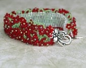 Crimson Flowers ... Bracelet . Caterpillar . Beadwoven . Floral . Lush . Lime Green . One of a Kind . Silver Toned Clasp . Spring . Summer