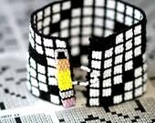 Crossword Puzzle ... Peyote Bracelet . Beadwoven Cuff . Black and White . Wide . Geometric . Sunday Morning . Crusiverbilist . Pencil . Fun