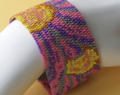 Tahoka Daisies ... Peyote Bracelet . Beadwoven Cuff . Flowers . Floral . Purple . Pink . Yellow . Bright . Wildflower . Prairie Aster