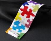 Multicolor Puzzle ... Peyote Cuff . Beadwoven Bracelet . Jigsaw Puzzle . Wide . Colorful . Multicolor . Rainbow . Autism Awareness
