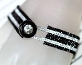 CUSTOM ORDER for Victoria . Sexy Silver Stripe Peyote Bracelet