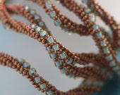 Verdigris ... Necklace . Bracelet . Matte Copper . Pale Bluish Green . Patina . Twisted .  Metallic . Rich . Beadwoven . Original