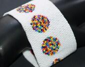 Bowls of Confetti ... Bracelet Cuff . Peyote . Wide . Multicolor . Polka Dots . Rainbow . Celebration . Asymmetrical . Bold