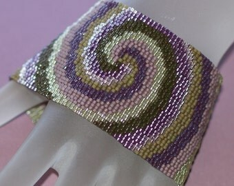 Maelstrom in Tuscany ... Peyote Bracelet . Wide Cuff . Beadwoven . Swirl . Spiral . Grape Purple . Olive Green . Vineyard Colors