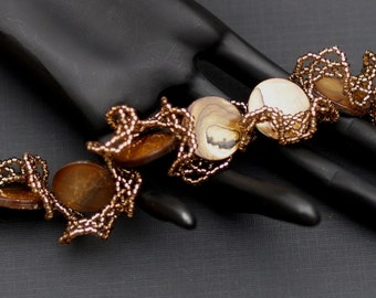 Bronze Beauty ... Handmade Bracelet . Frilly . Netting . Oglala . Feminine . Ruffly . Ruffled . Mother of Pearl . Caramel . Seed Beads