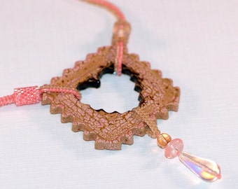 Keep an Open Heart ... Necklace . Stoneware Pendant . Romantic . Salmon Pink . Beadwoven . Tubular Herringbone . OOAK . Crackle Glaze