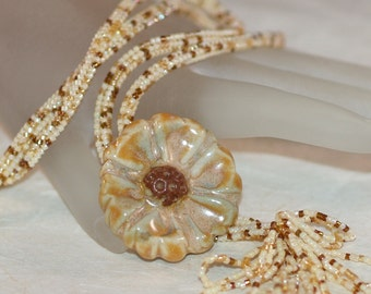 Autumn Bloom ... Necklace . Beadwoven . Stoneware . Flower . Floreal . Cream . Honey . Neutral . One of a Kind