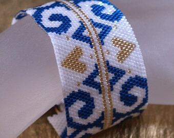 Royal Flourish ... Peyote Bracelet . Ornate . Regal . Blue . Pearl White . Metallic Gold . Swirls . Brass Button . Gorgeous . Holiday