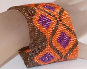 Fuchsia Diamonds ... Bracelet Cuff . Orange . Brown . Peyote . Wide . Beadwoven . Modern . Geometric . Bold